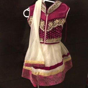 Never worn new with tags girls lengha with scarf